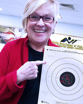 Dody Maki with her 99 out of 100 Bullseye pistol target Jan 25 2016