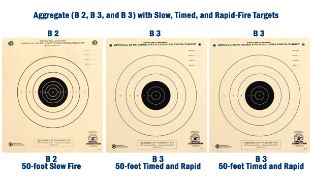 Bullseye pistol aggregate of targets for 50-foot indoor course of fire